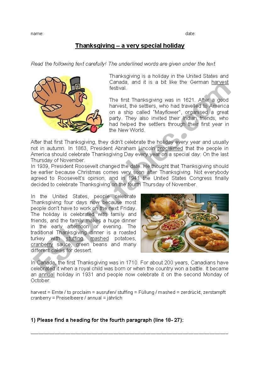 Reading Comprehension Thanksgiving  Esl Worksheetbytheseaside As Well As November Reading Comprehension Worksheets