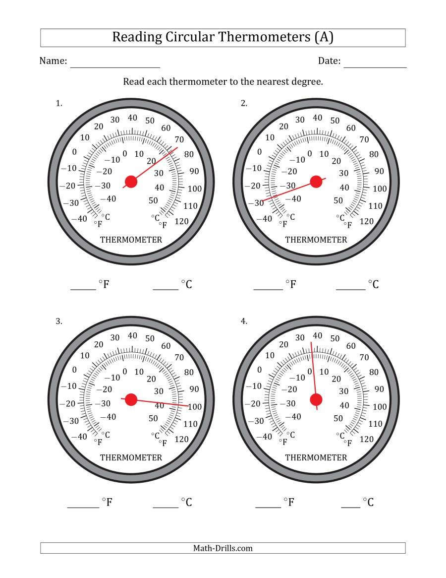 Reading Temperatures From Circular Thermometers Fahrenheit Dominant Also Reading A Thermometer Worksheet