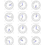 Reading Time On 12 Hour Analog Clocks In 5 Minute Intervals A For Time To The Minute Worksheets