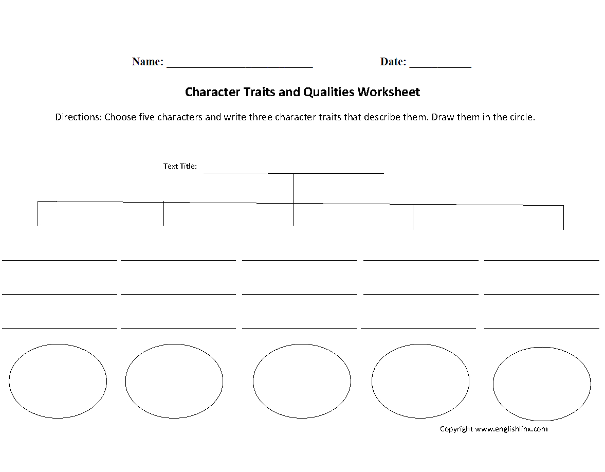 Reading Worksheets  Character Traits Worksheets Inside Identifying Character Traits Worksheet