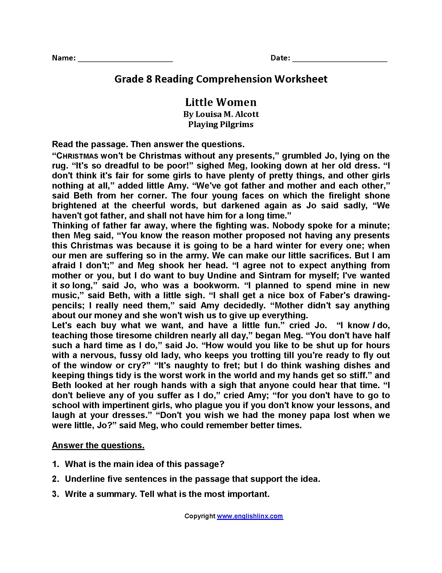 Reading Worksheets  Eighth Grade Reading Worksheets Along With Pilgrims Reading Comprehension Worksheet