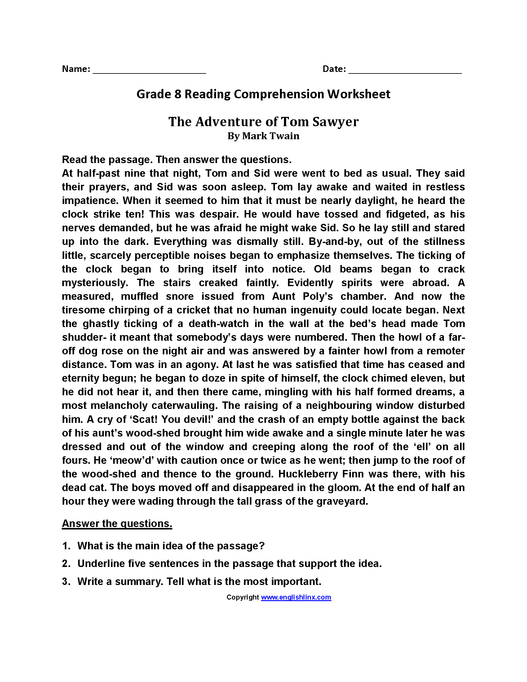 Reading Worksheets  Eighth Grade Reading Worksheets For 8Th Grade Reading Comprehension Worksheets Pdf