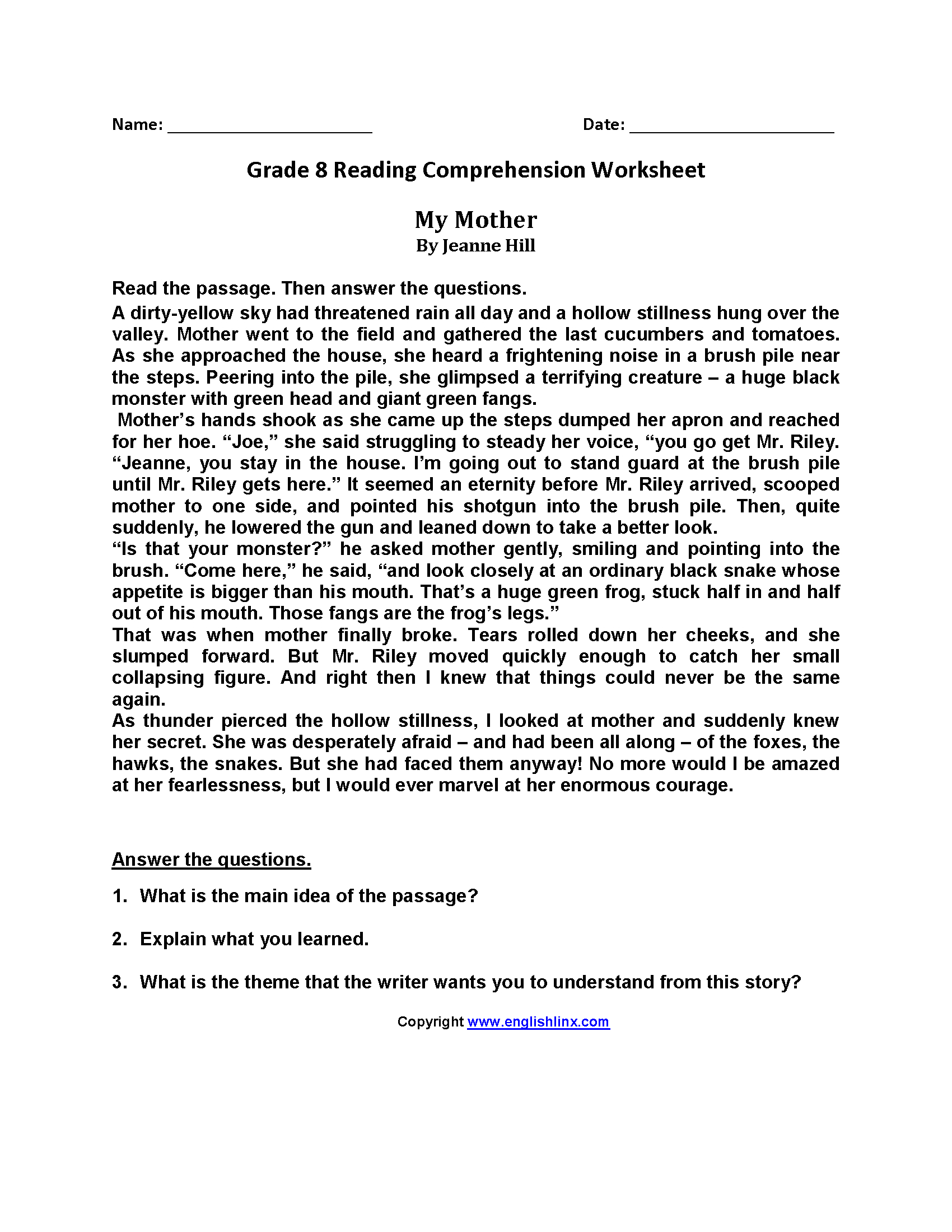 Reading Worksheets  Eighth Grade Reading Worksheets Regarding 8Th Grade Reading Comprehension Worksheets Pdf