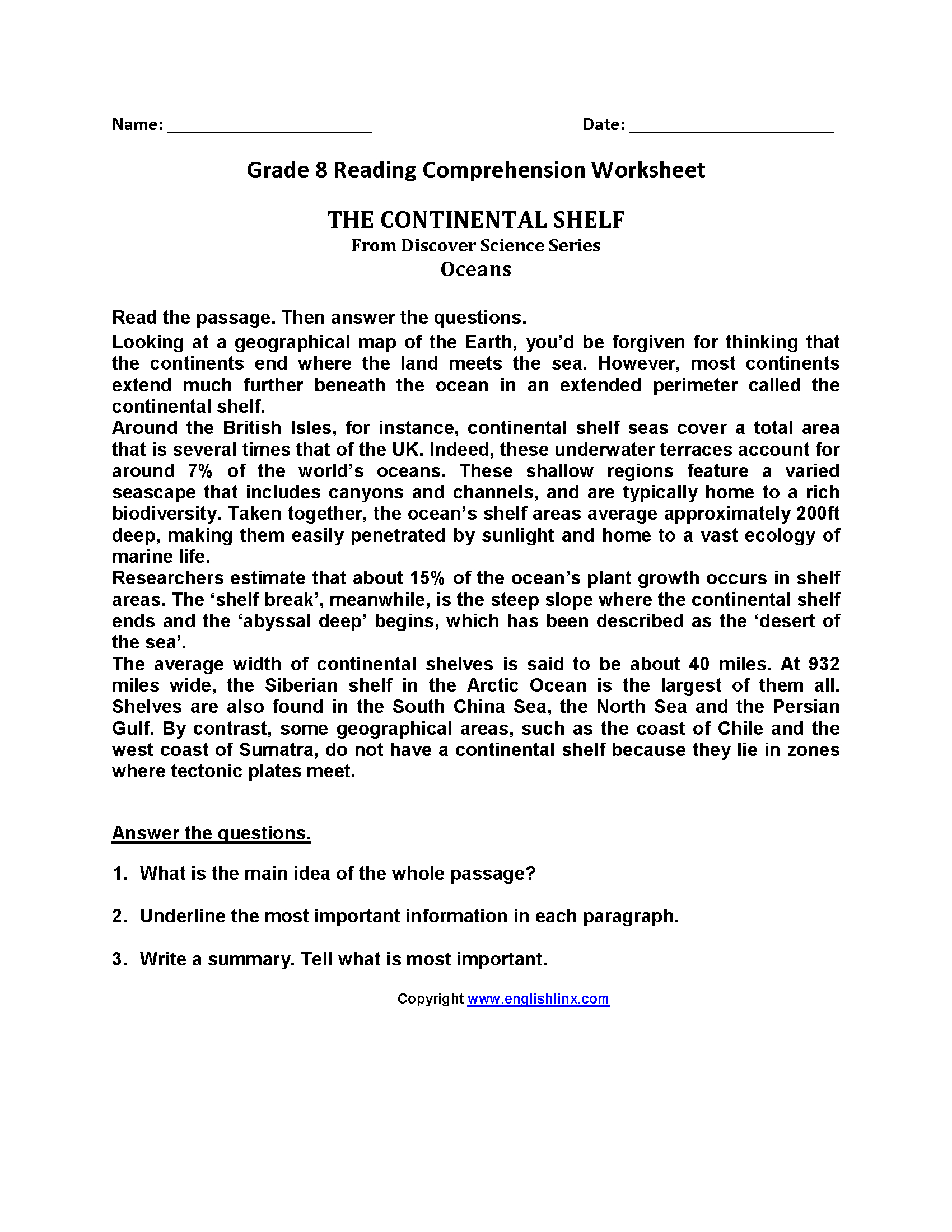 Reading Worksheets  Eighth Grade Reading Worksheets Throughout Science Reading Comprehension Worksheets Middle School Pdf