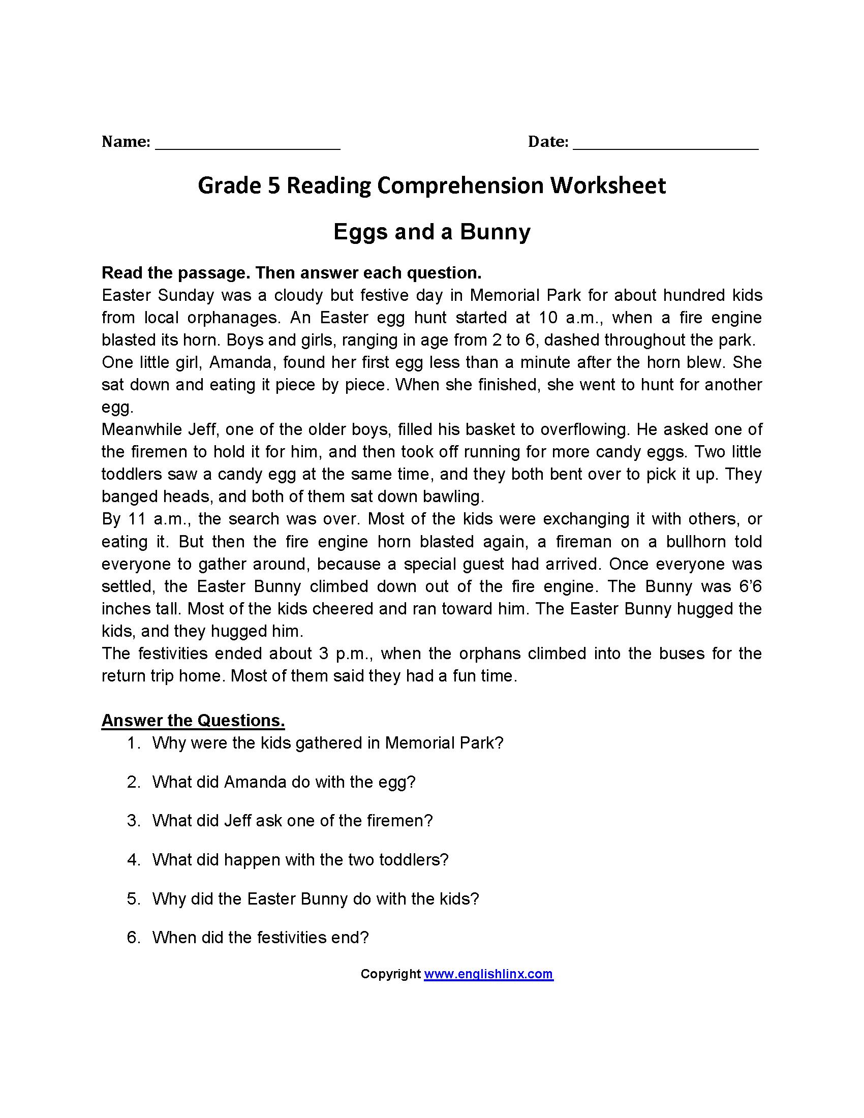 Reading Worksheets  Fifth Grade Reading Worksheets As Well As Reading Comprehension Worksheets 5Th Grade