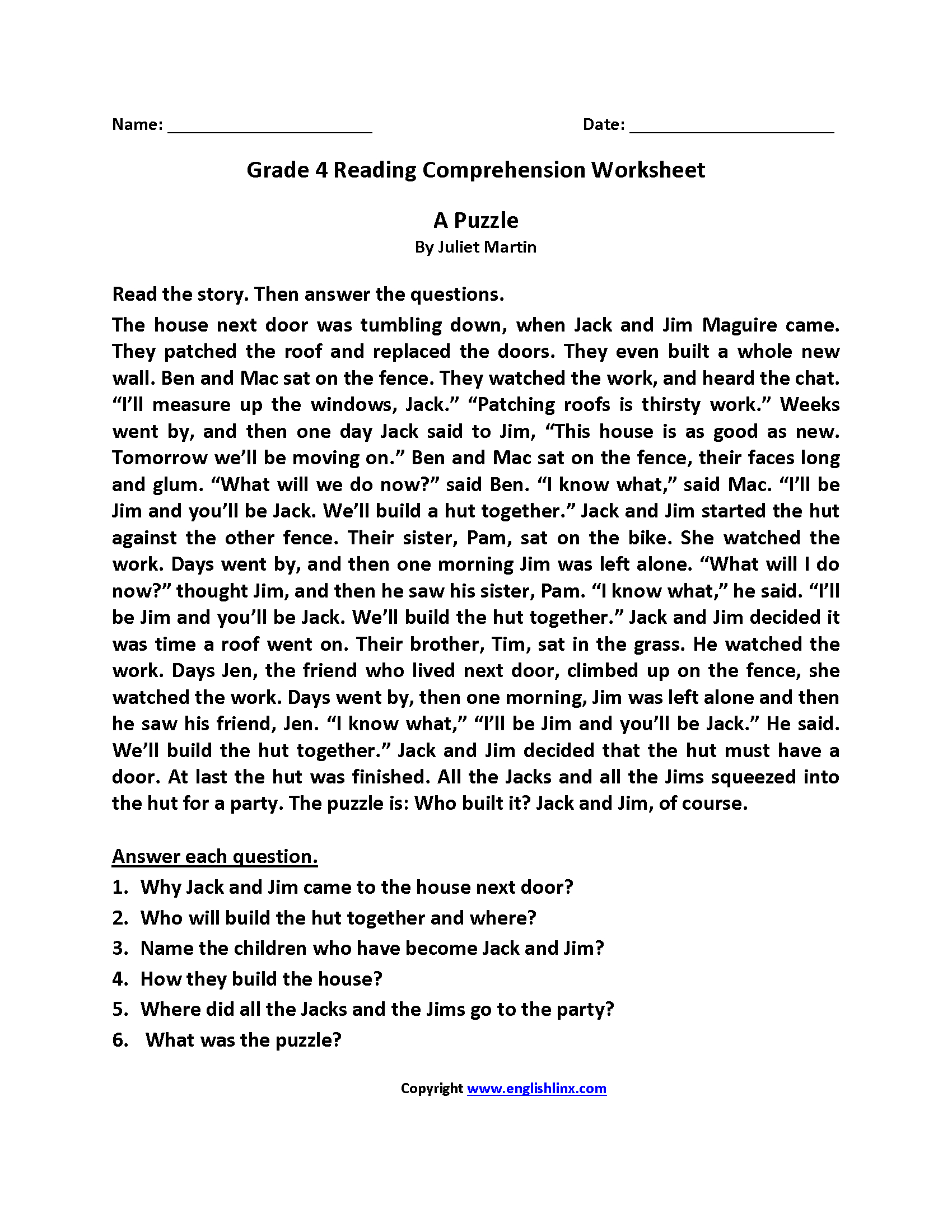 Reading Worksheets  Fourth Grade Reading Worksheets Inside 4Th Reading Comprehension Worksheets