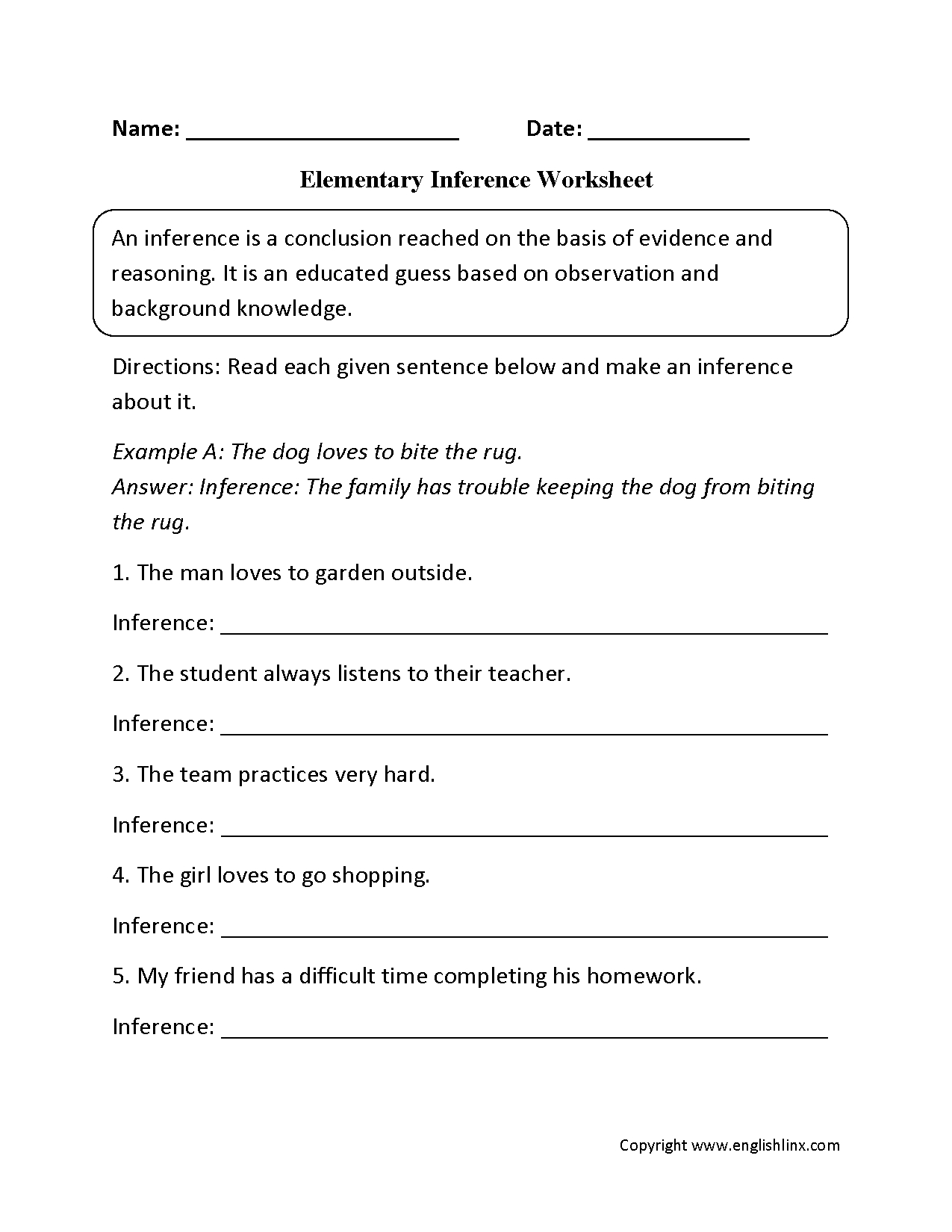 Reading Worksheets  Inference Worksheets Also Observation And Inference Worksheet Answer Key