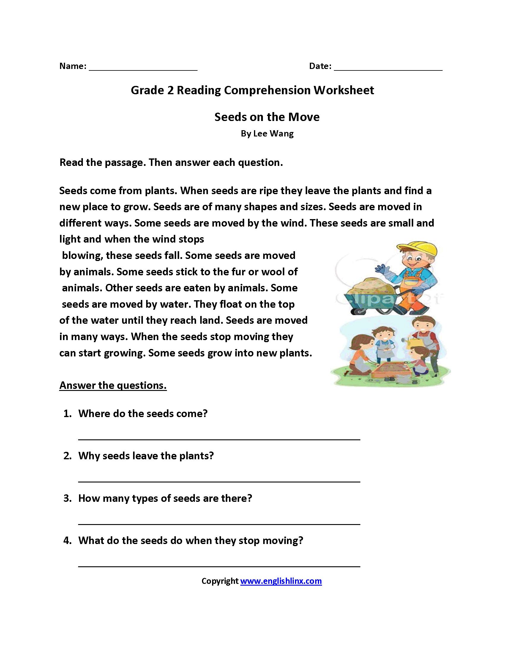 Reading Worksheets  Second Grade Reading Worksheets Inside Reading Worksheets For Grade 2