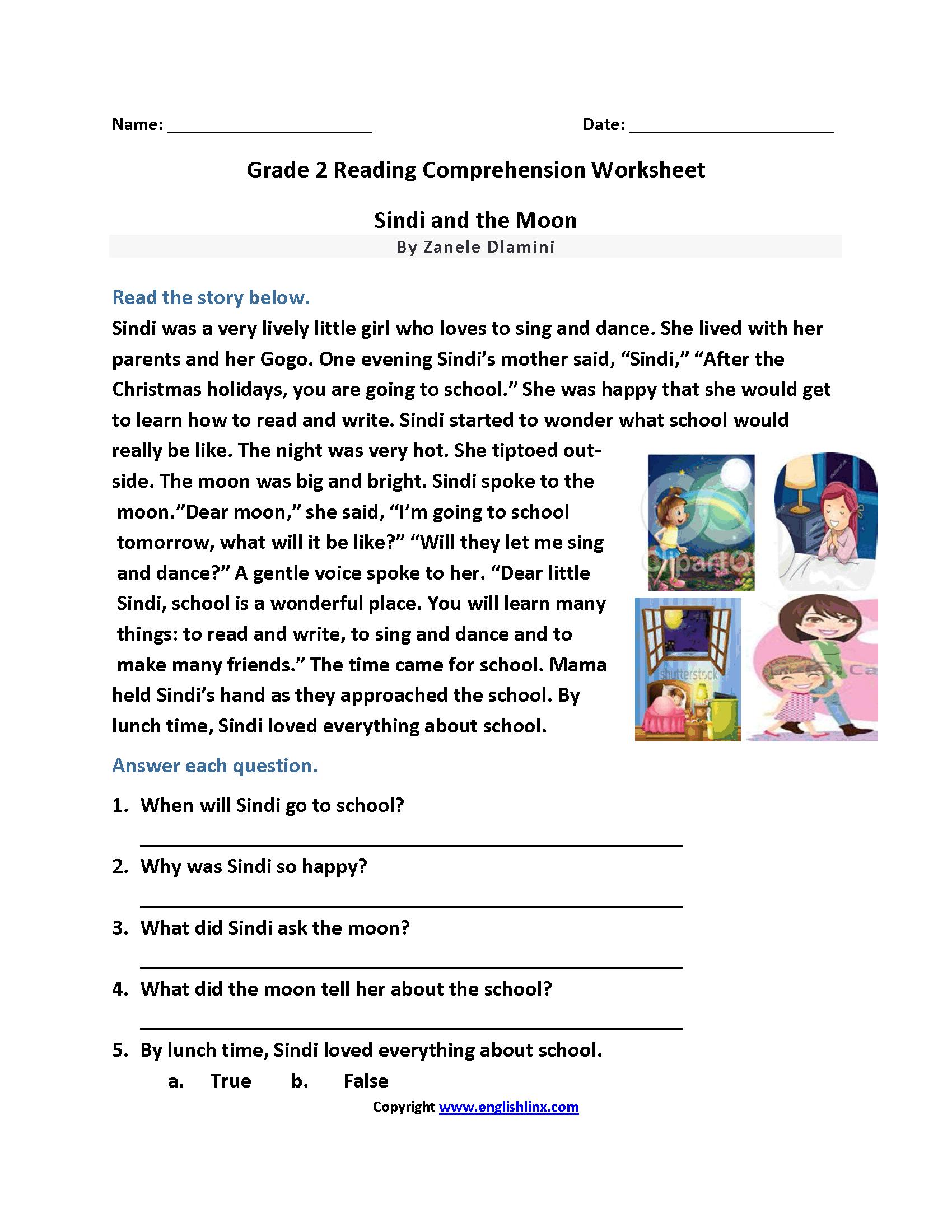 Reading Worksheets  Second Grade Reading Worksheets Intended For Reading Comprehension Worksheets For 2Nd Grade