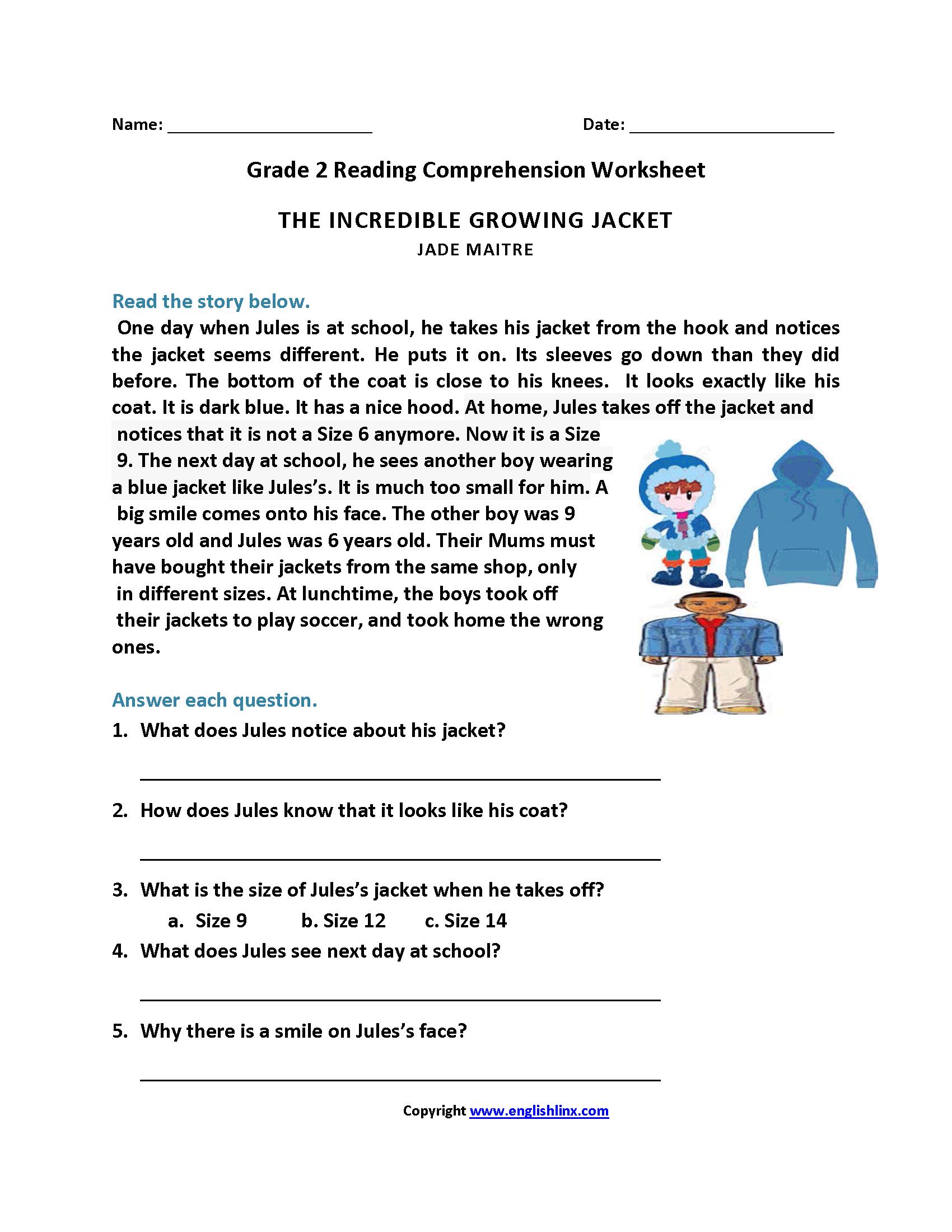 Reading Worksheets  Second Grade Reading Worksheets Regarding Reading Worksheets For Grade 2