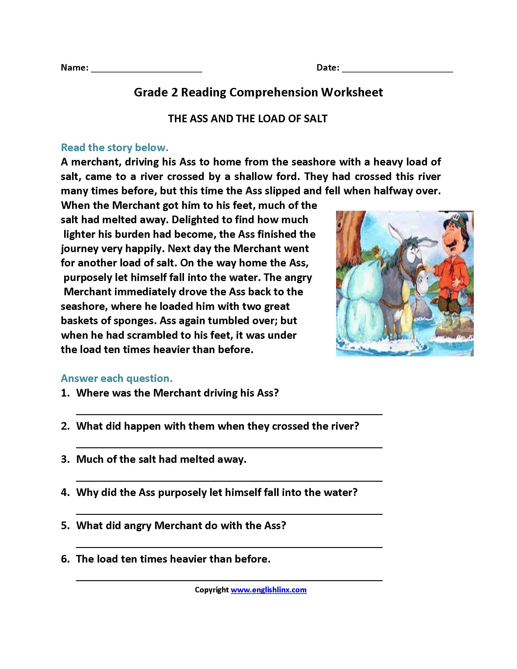 Reading Worksheets  Second Grade Reading Worksheets Throughout Reading Worksheets For Grade 2