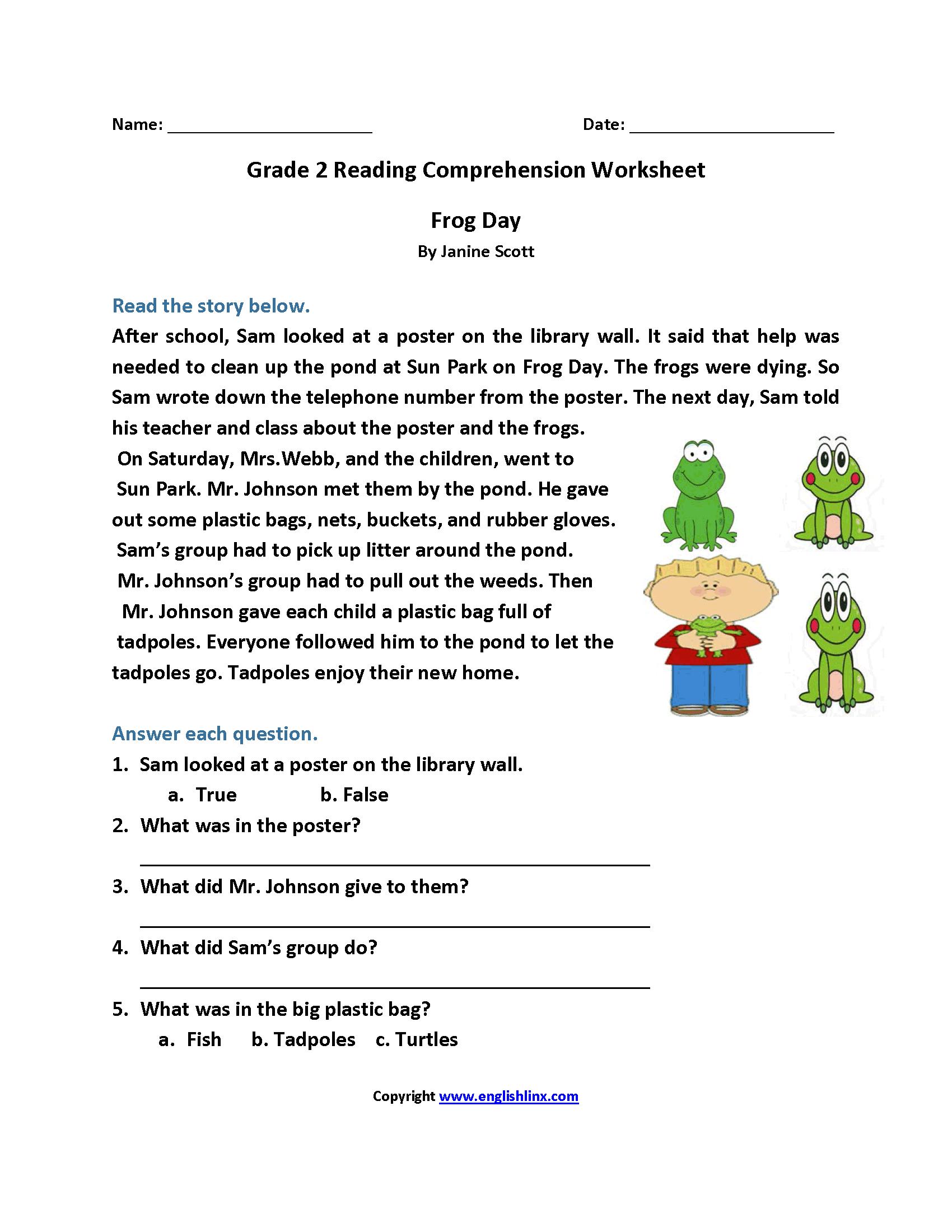 Reading Worksheets  Second Grade Reading Worksheets Within 2Nd Grade Reading Comprehension Worksheets Pdf