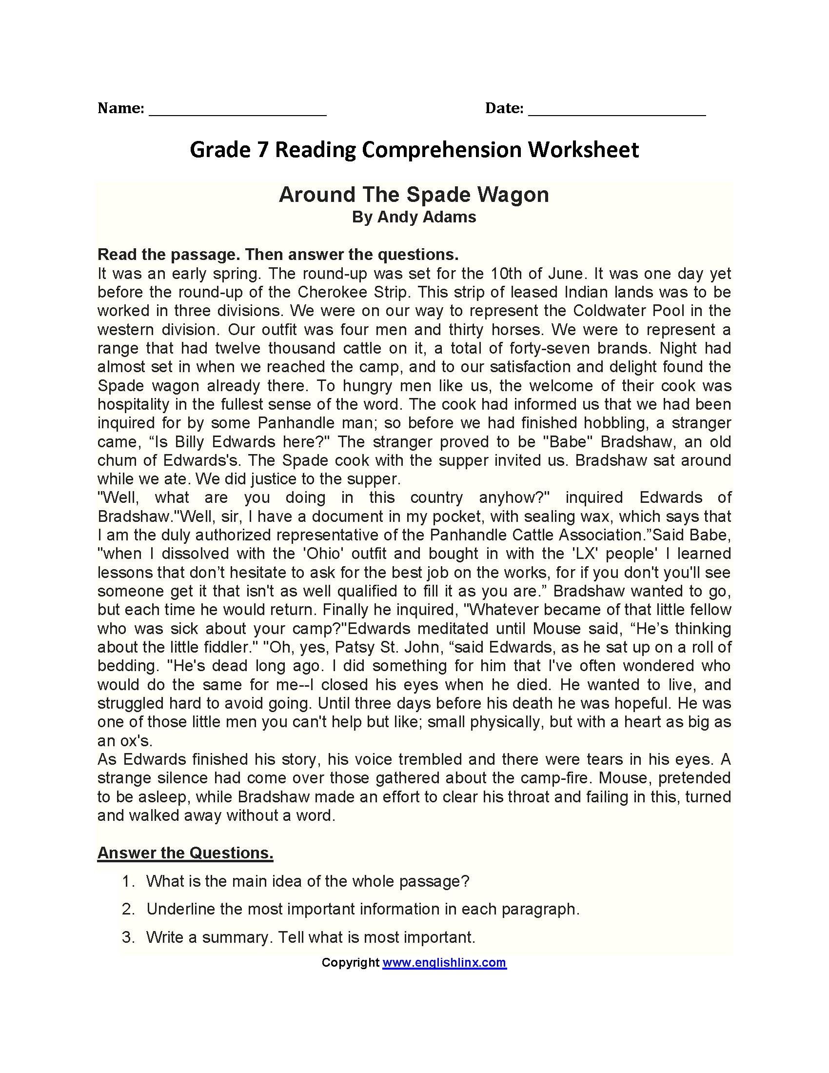 Reading Worksheets  Seventh Grade Reading Worksheets Along With 7Th Grade Reading Worksheets