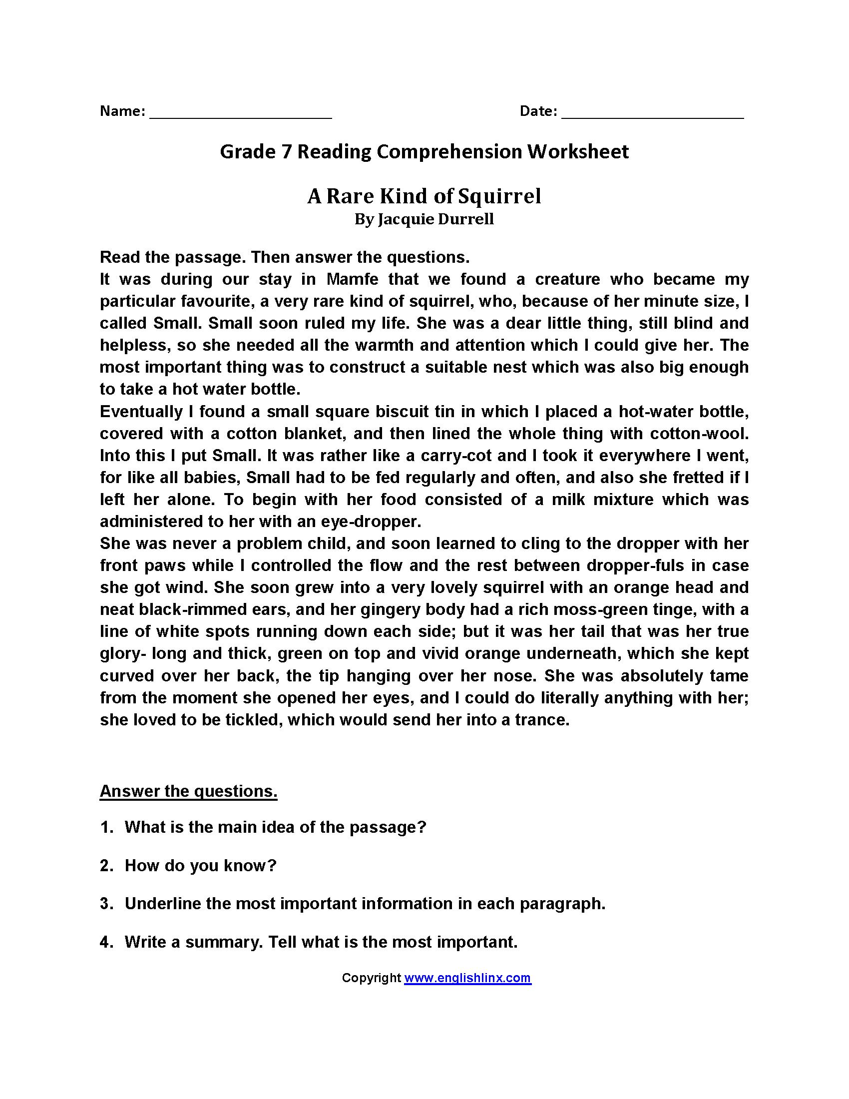 Reading Worksheets  Seventh Grade Reading Worksheets For 7Th Grade Reading Worksheets