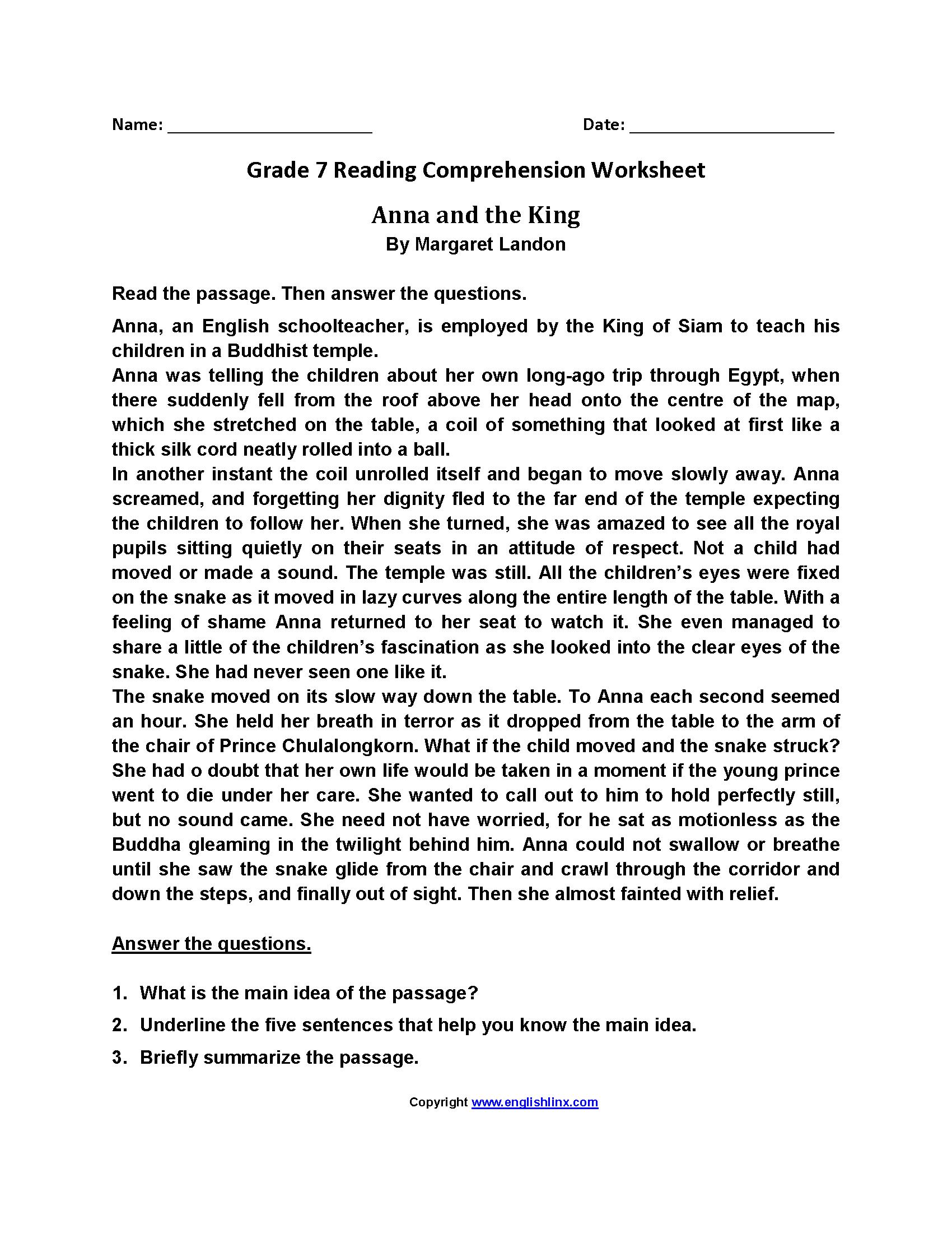 Reading Worksheets  Seventh Grade Reading Worksheets Throughout 7Th Grade Reading Worksheets