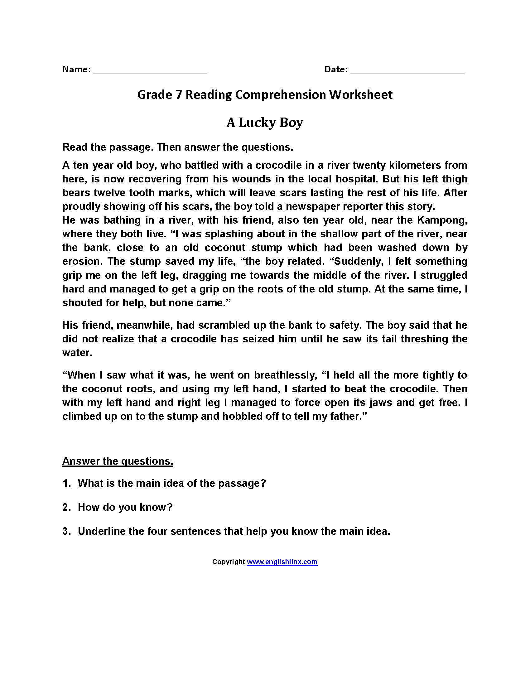 Reading Worksheets  Seventh Grade Reading Worksheets With Regard To 7Th Grade Reading Worksheets