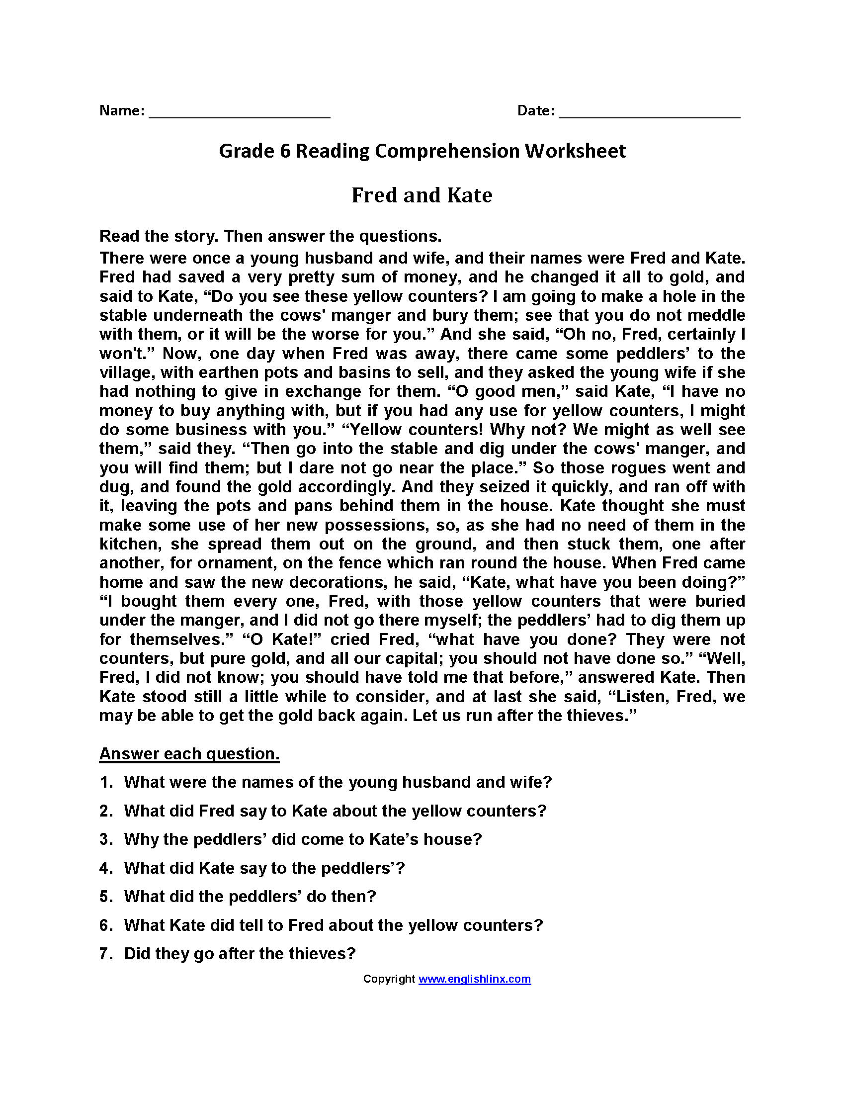 Reading Worksheets  Sixth Grade Reading Worksheets In Grade Six English Worksheets