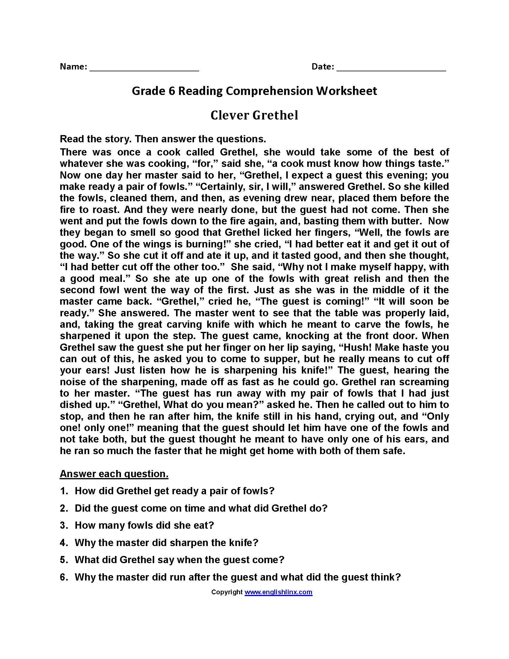 Reading Worksheets  Sixth Grade Reading Worksheets Regarding Grade Six English Worksheets