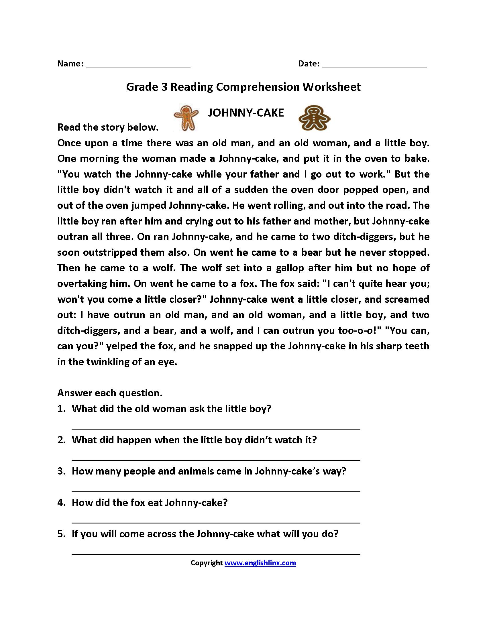 Reading Worksheets  Third Grade Reading Worksheets For Comprehension Worksheets For Grade 3