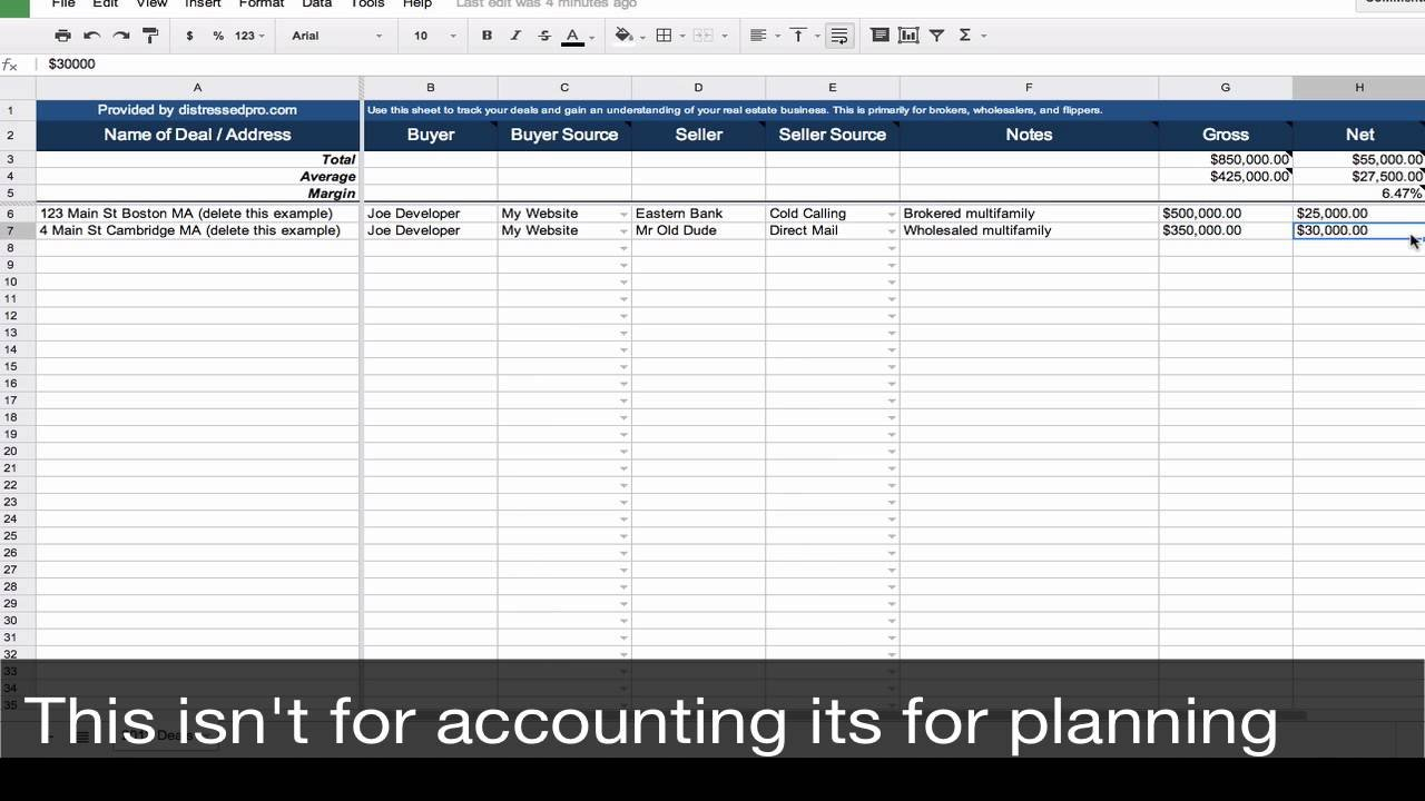 Real Estate Transaction Tracker - Spreadsheet Template - Youtube Pertaining To Real Estate Sales Tracking Spreadsheet