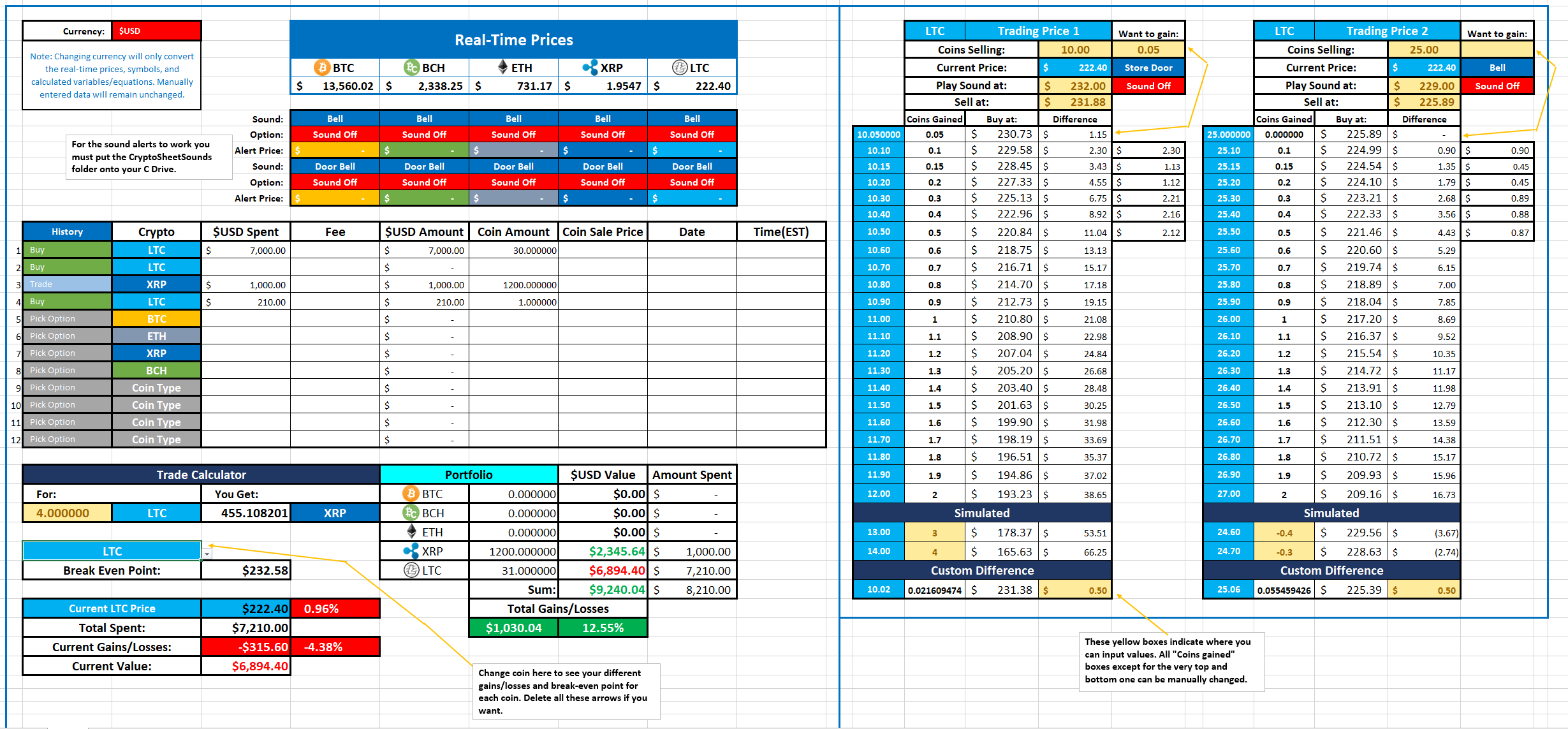Real Time Multi Coin Excel Sheet With Sound Alerts, Trade ... Intended For Bitcoin Excel Spreadsheet