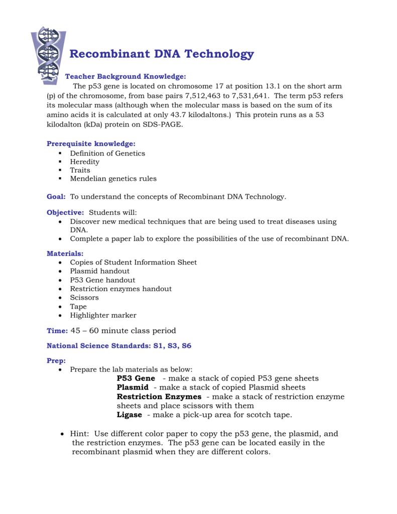 Recombinant Dna Technology Within Dna Technology Worksheet
