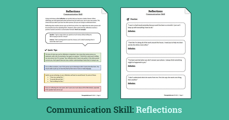 Reflections Communication Skill Worksheet  Therapist Aid And Communication Skills Worksheets