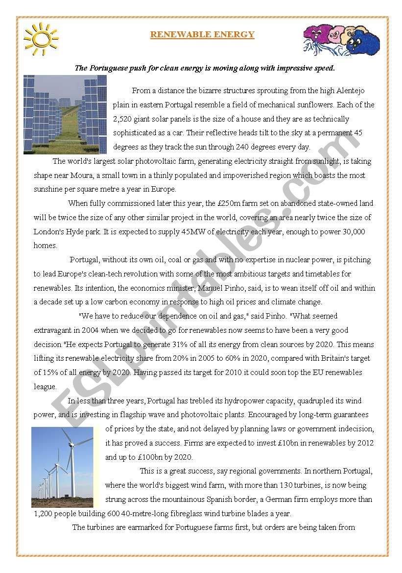 Renewable Energy Reading Comprehension  Esl Worksheetcimadas For Renewable Energy Worksheet Pdf