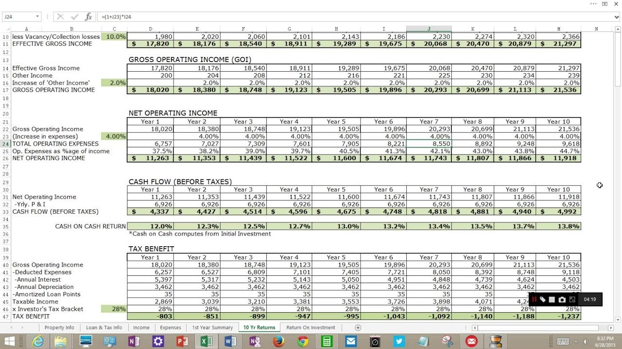 Rental Income Property Analysis For Excel - Youtube Or Rental Income Property Analysis Excel Spreadsheet
