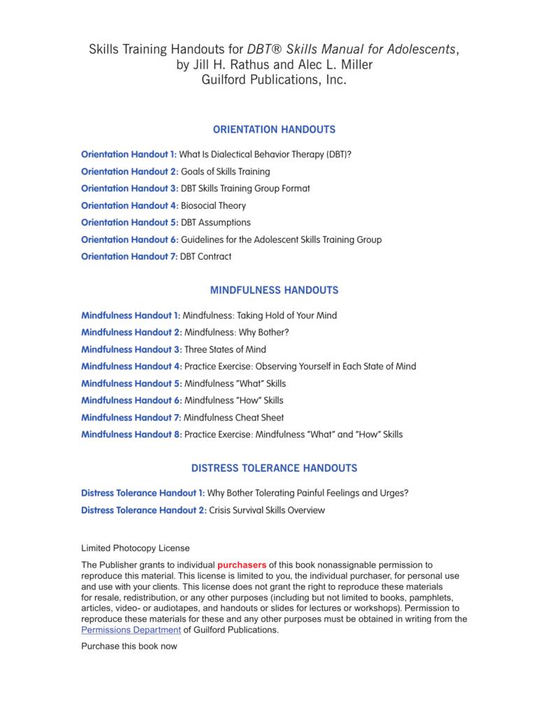 Reproducible Materials Dbt® Skills Manual For Pertaining To Dbt Skills Worksheets