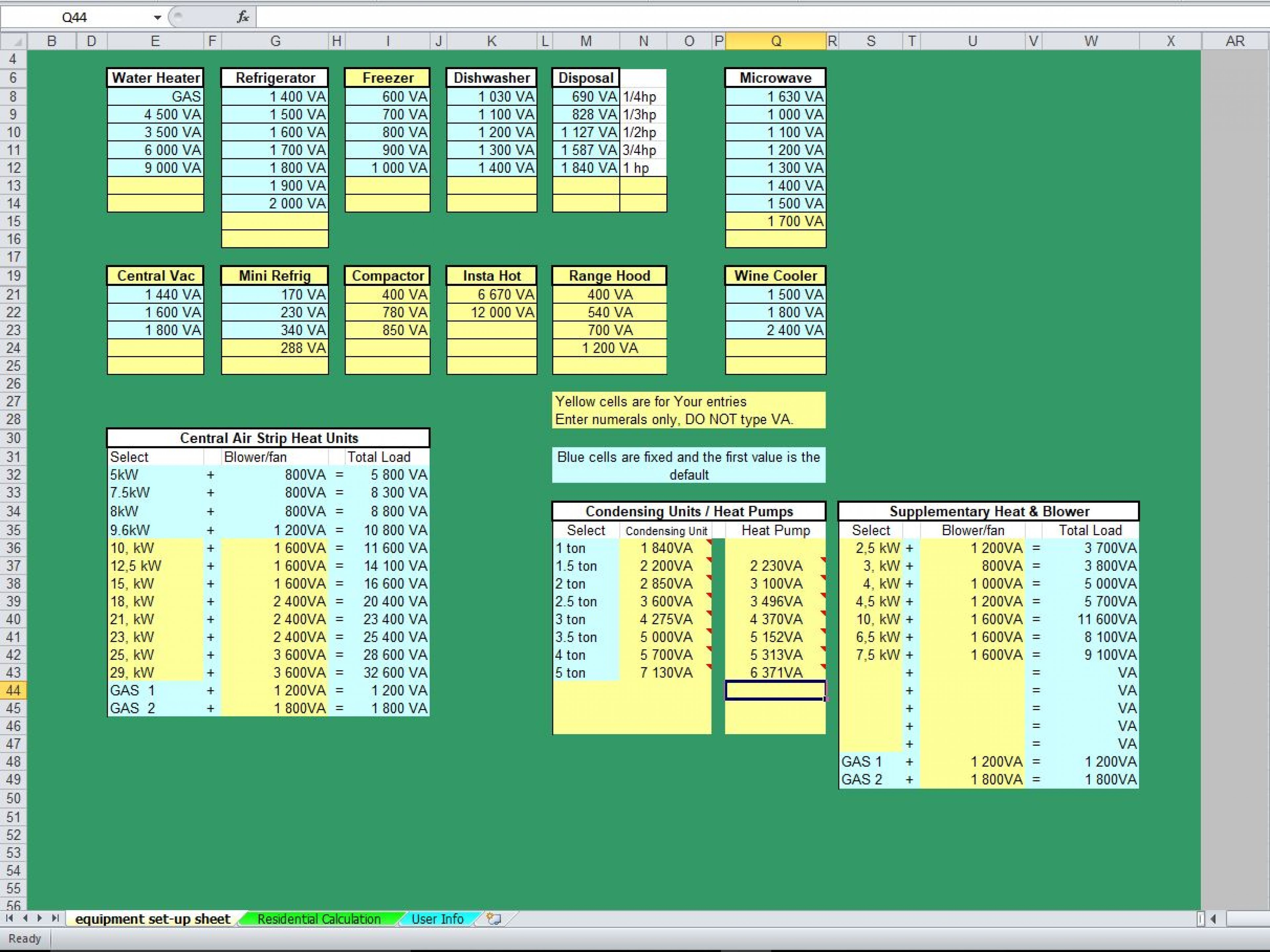 Residential Load Calculation Spreadsheet   Eloquens Pertaining To Electrical Panel Load Calculation Spreadsheet