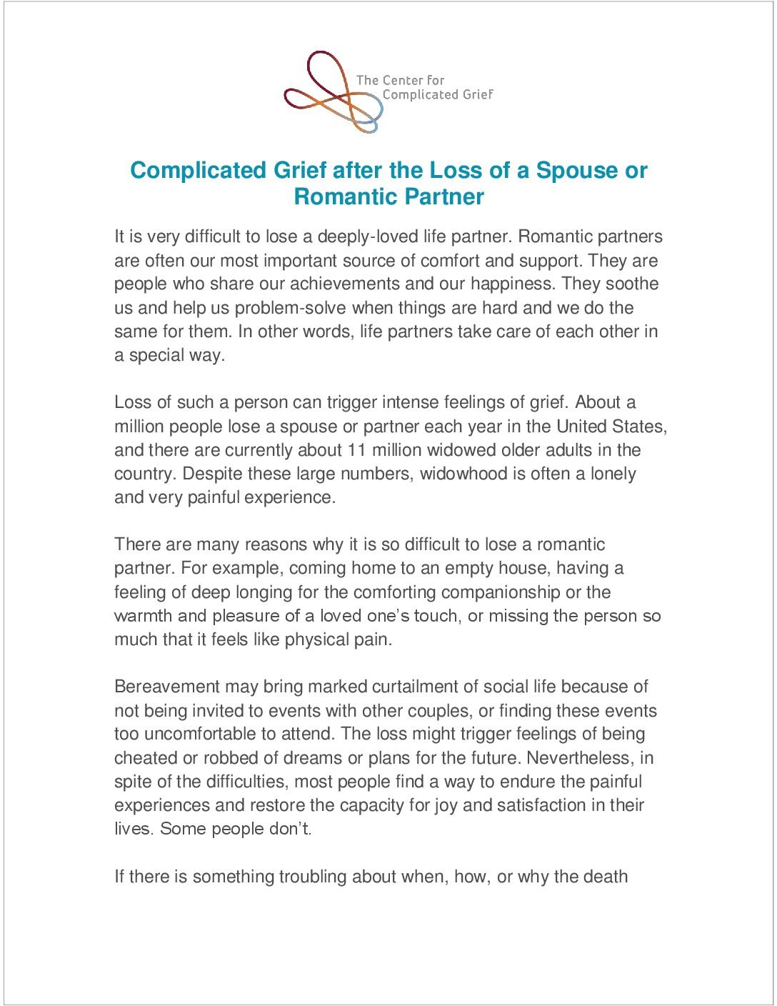 Resources  The Center For Complicated Grief For Grief And Loss Worksheets For Adults