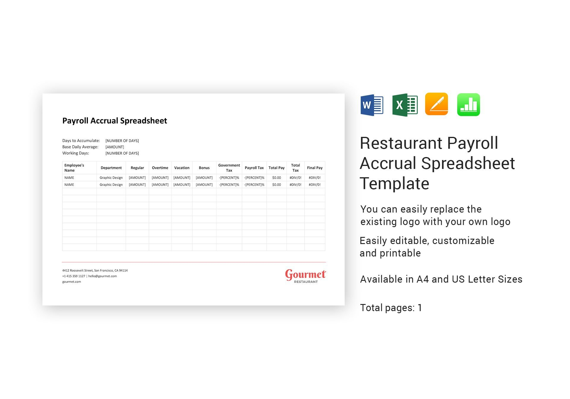 Restaurant Payroll Accrual Spreadsheet Template In Word, Excel ... Throughout Payroll Accrual Spreadsheet Template