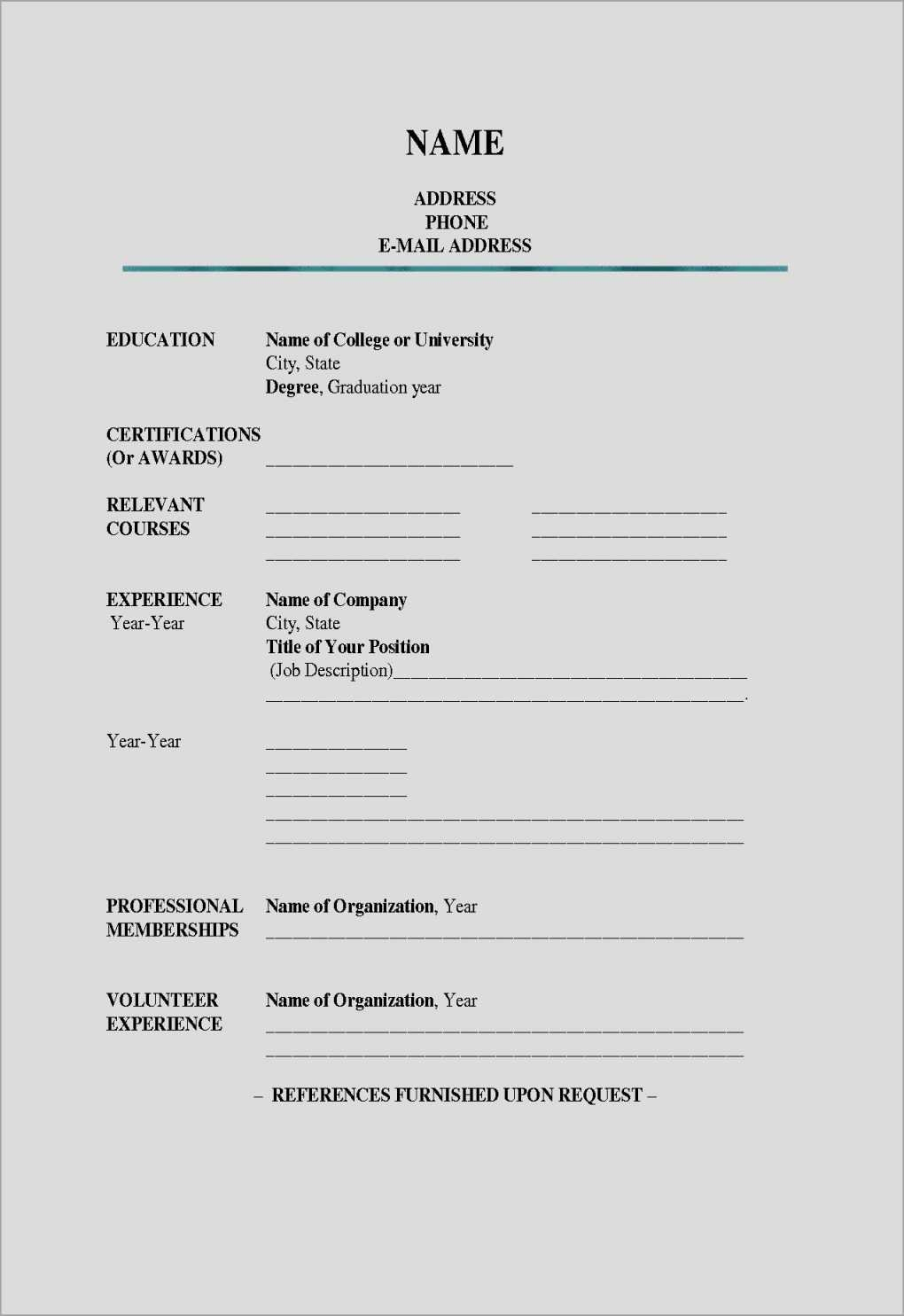 Resume Template To Fill In Fill In Resume Inspirational Fill In The Intended For Fill In The Blank Resume Worksheet