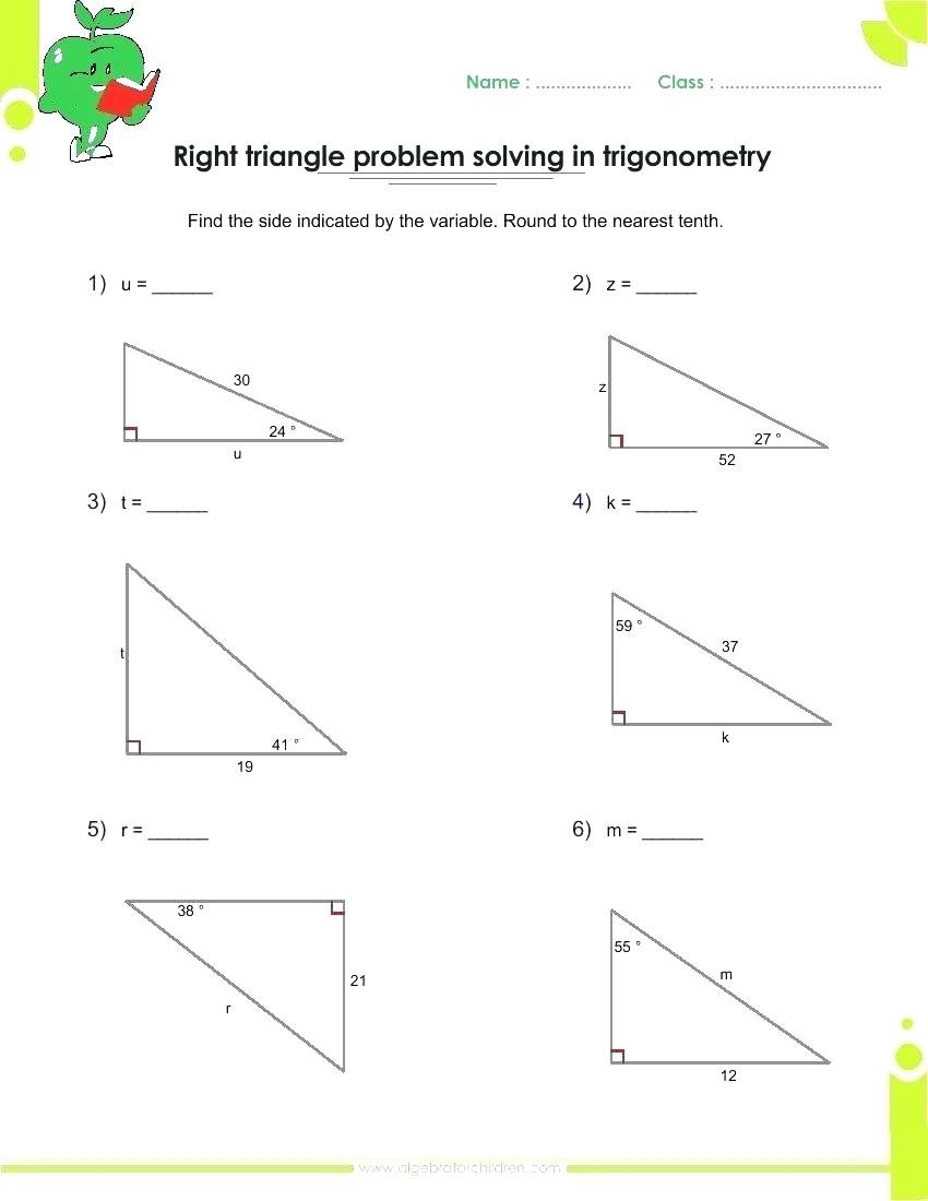 Right Triangle Trig Word Problems Worksheet Math Trig Word Problems In Right Triangle Trigonometry Worksheet Answers