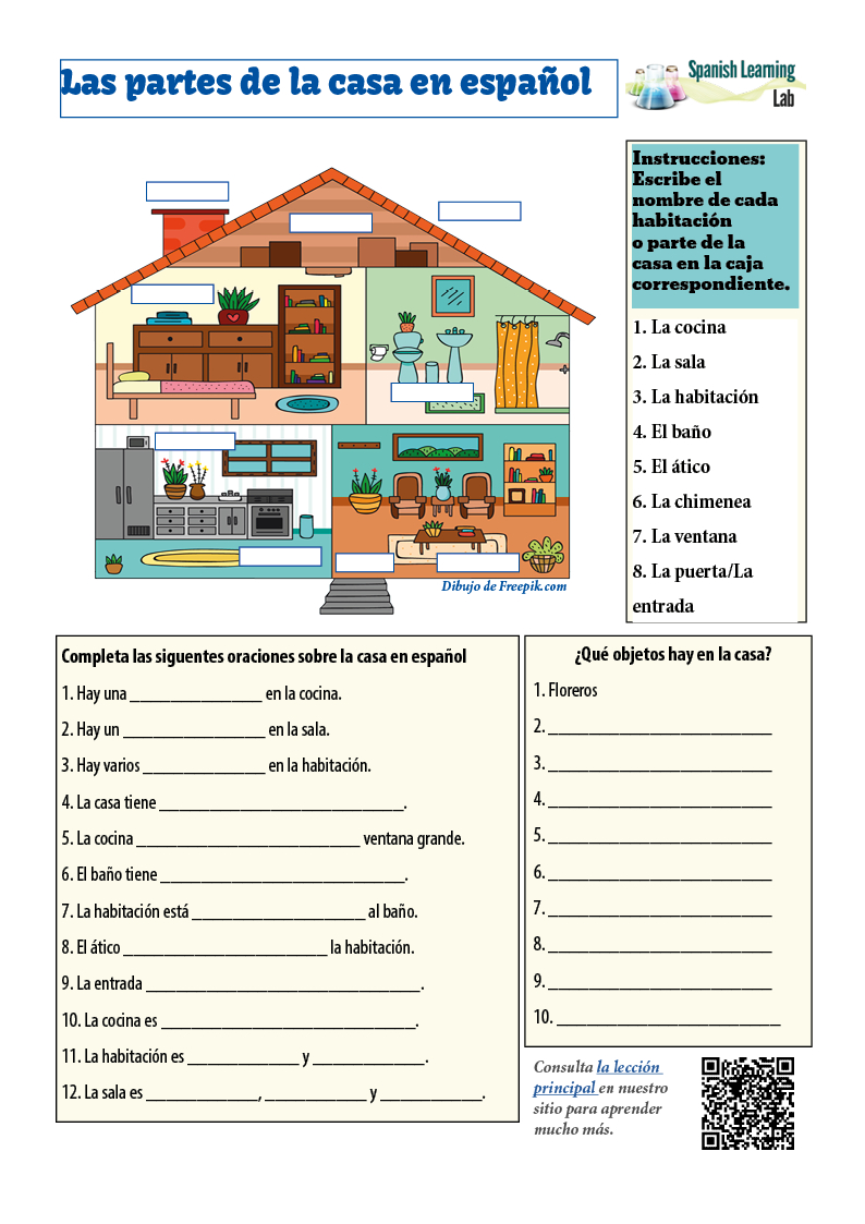 Rooms And Parts Of The House In Spanish Pdf Worksheet Regarding Spanish Worksheets Pdf