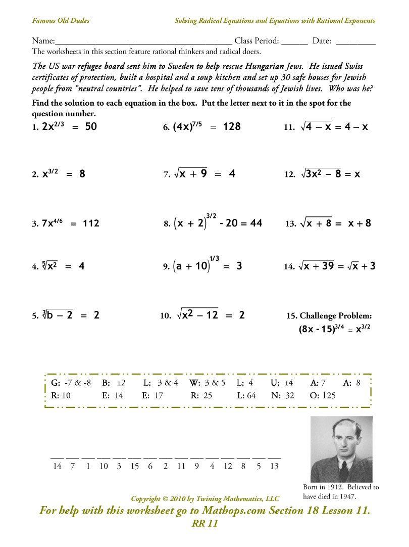 Rr 11 Solving Radical Equations And Equations With Rational As Well As Rational Exponents Equations Worksheet