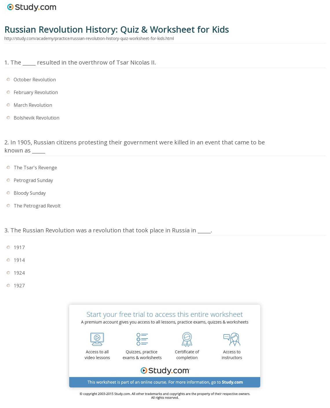 Russian Revolution History Quiz  Worksheet For Kids  Study Along With Russian For Beginners Worksheets