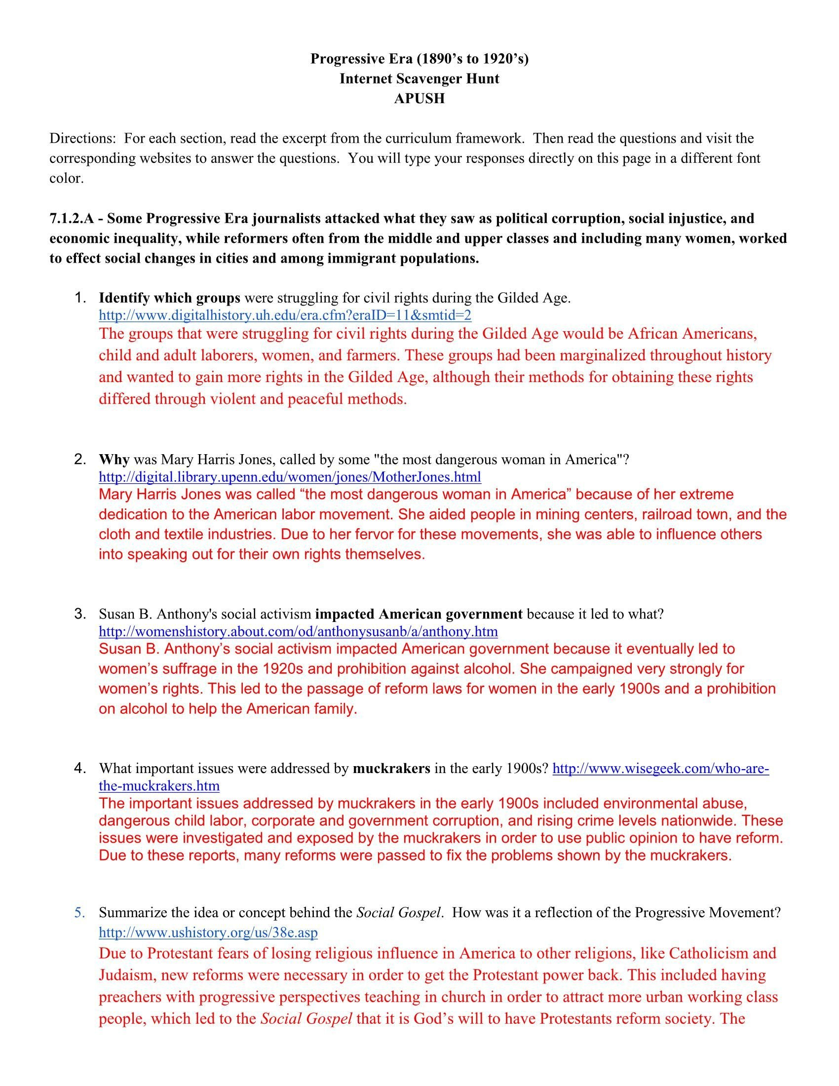 Scavengerhuntrealpdf Pages 1  6  Text Version  Fliphtml5 For Reforms Of The Progressive Movement Worksheet Answers