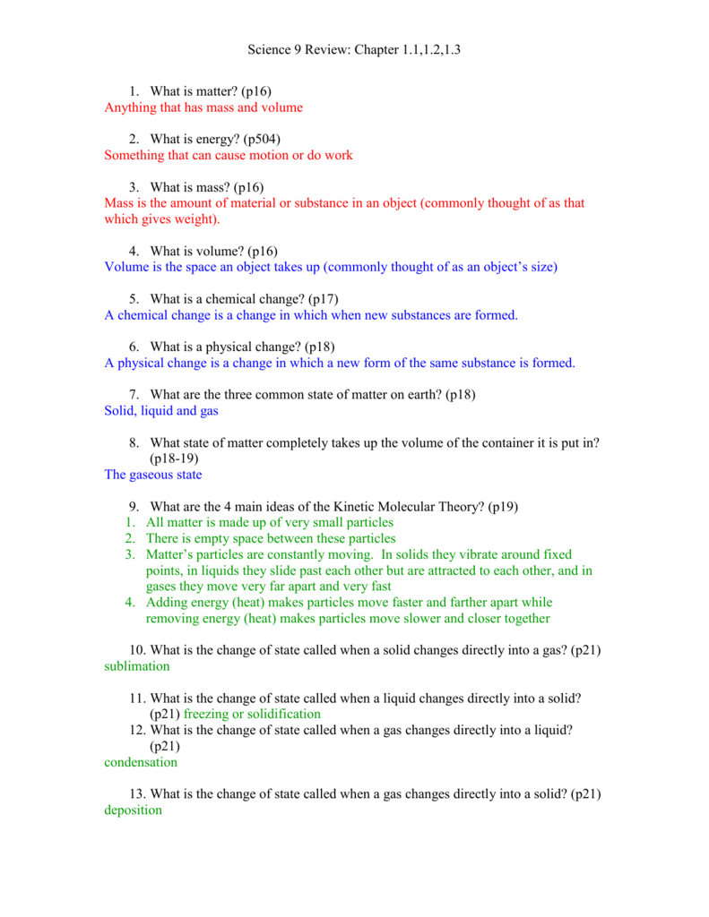 Sci 9 Review Worksheet 12 With Answers Throughout Changes Of State Worksheet Answers