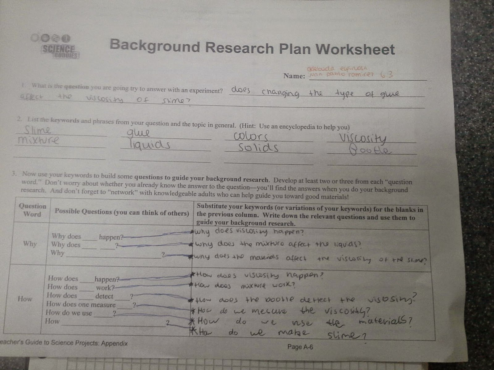 Science Fair 2015 Juan Pablo And Adelaida Background Research Plan Along With Background Research Plan Worksheet