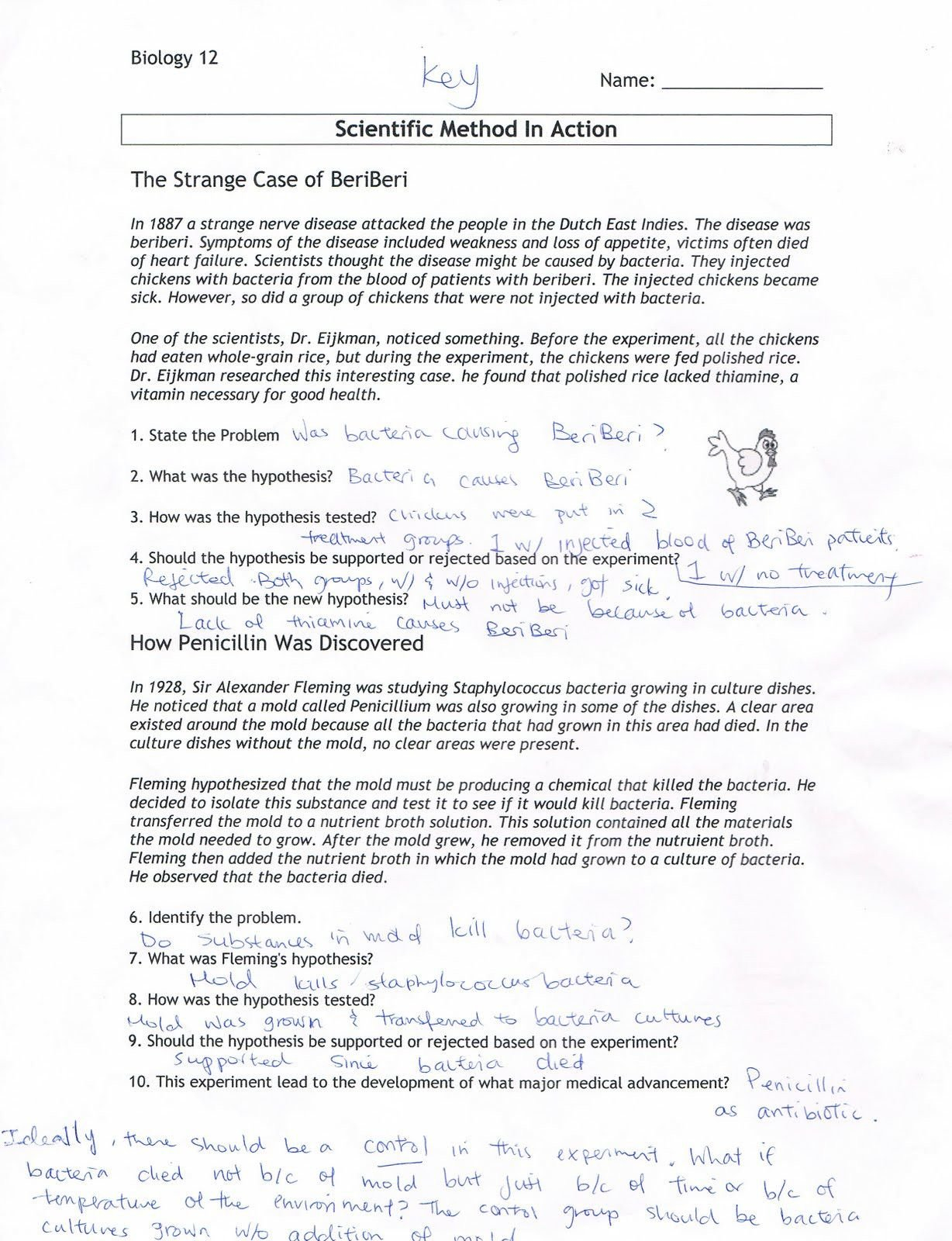 Scientific Inquiry Worksheet Answers  Briefencounters With Regard To Scientific Inquiry Worksheet Answer Key