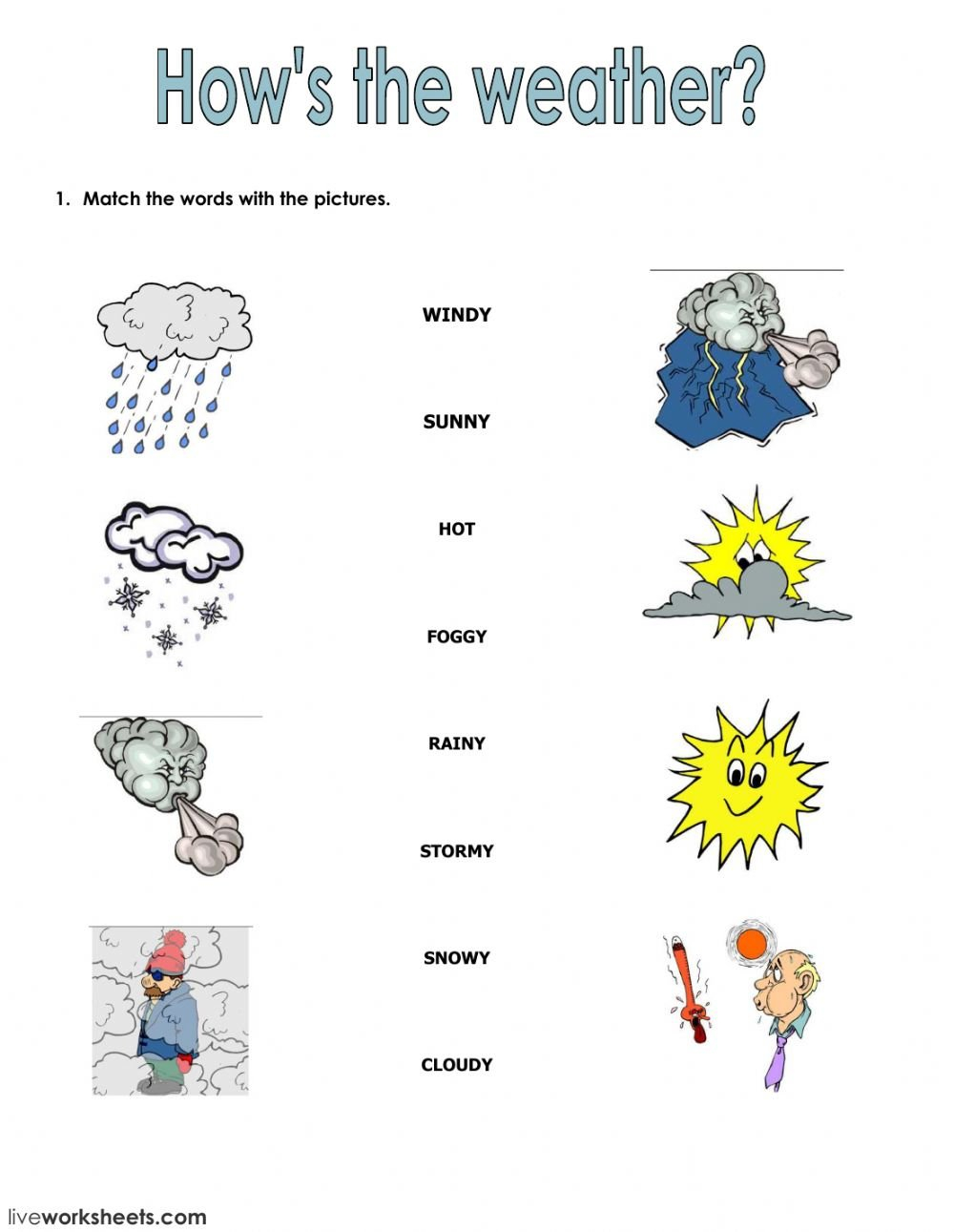 Seasons And Clothes  Interactive Worksheet Also Weather Worksheets For 1St Grade