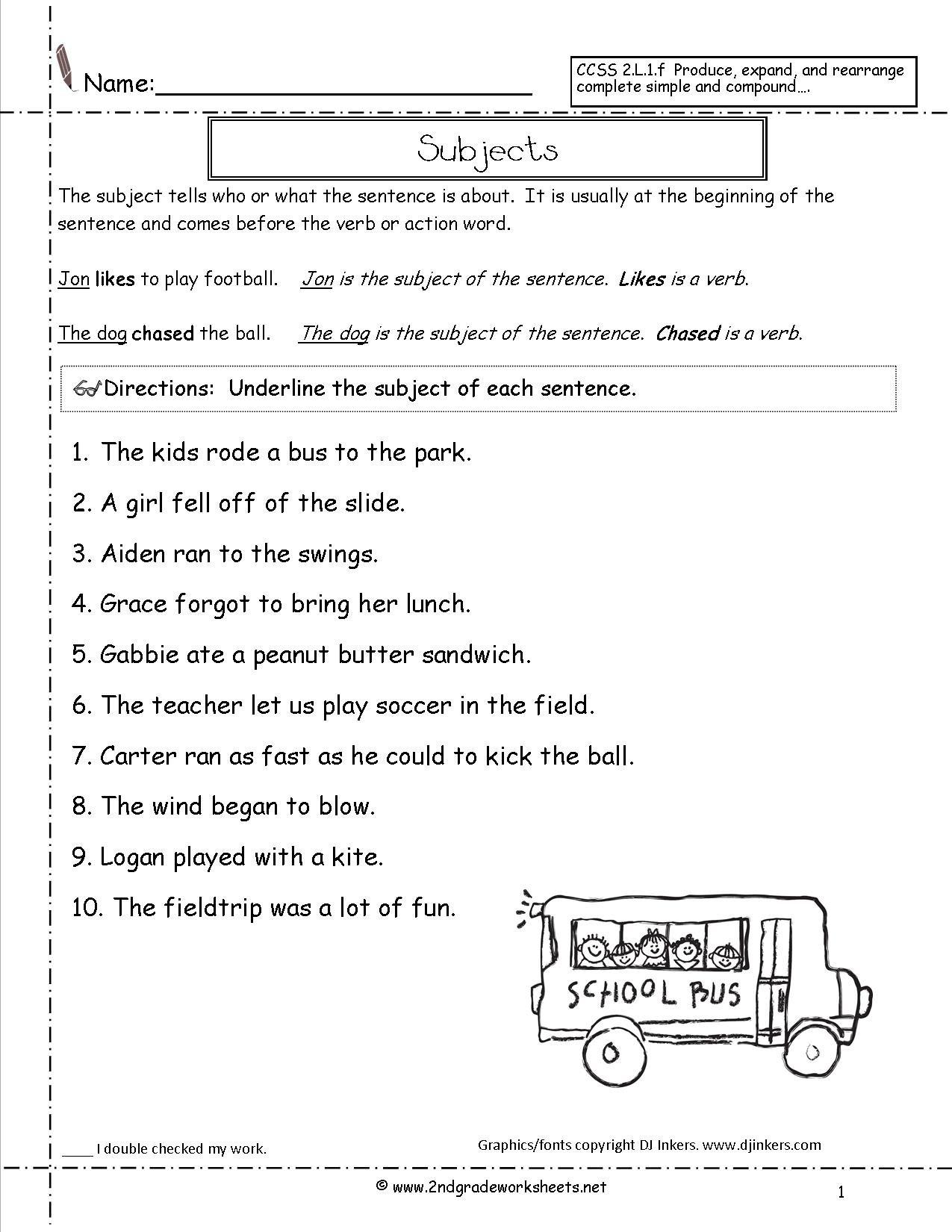 Second Grade Sentences Worksheets Ccss 2L1F Worksheets In Grammar Correction Worksheets