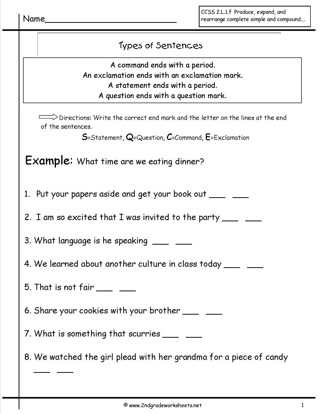 Second Grade Sentences Worksheets Ccss 2L1F Worksheets Inside Kinds Of Sentences Worksheet