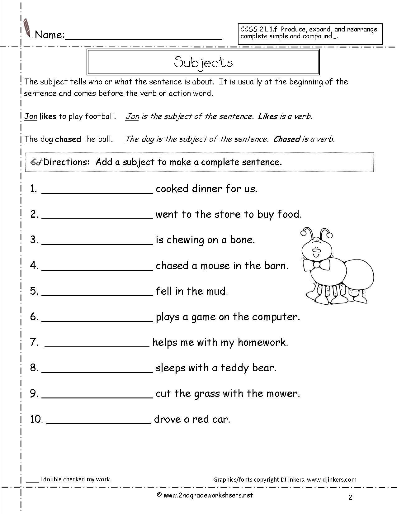 Second Grade Sentences Worksheets Ccss 2L1F Worksheets Within Kinds Of Sentences Worksheet