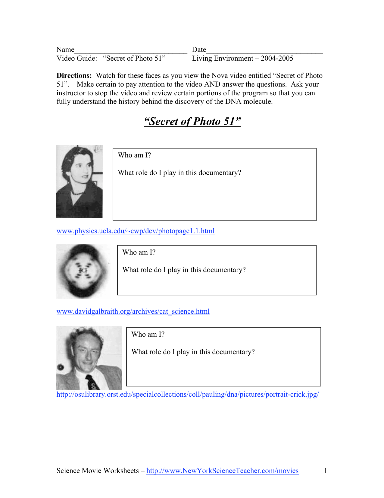 Secret Of Photo 51  Wshs Ib Regarding Secret Of Photo 51 Video Worksheet Answers