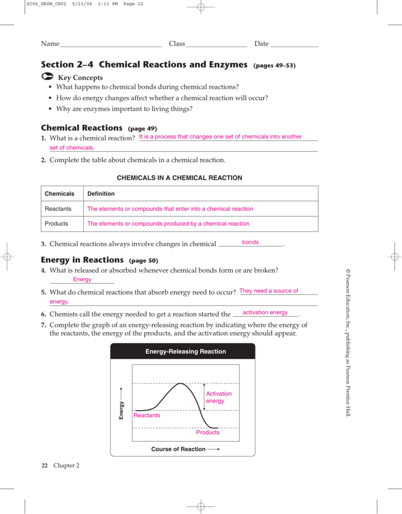 Section 2–4 Chemical Reactions And Enzymes Pages 49–53 Regarding 2 4 Chemical Reactions Worksheet Answers