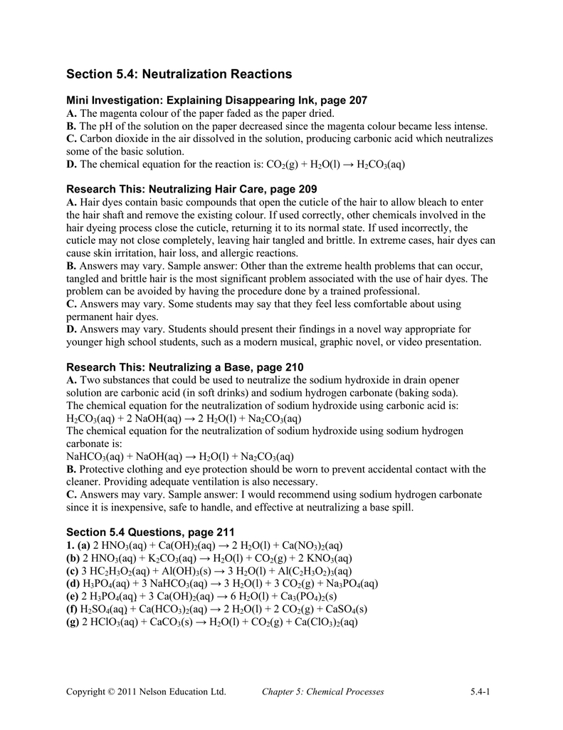 Section 54 Neutralization Reactions With Neutralization Reactions Worksheet Answers