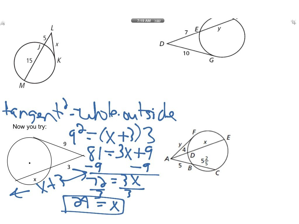 Segment Relationships In Circles  Math  Showme Or Segments In Circles Worksheet Answers
